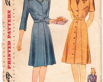 Vintage 1942 Simplicity 4471 Sewing Pattern Misses' Dress Size 16 Bust 34