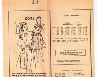 Vintage 1940s Mail Order 2673 FF Sewing Pattern Misses' One-Piece Dress Size 13 Bust 31