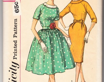 Vintage 1961 Simplicity 3752 Sewing Pattern Misses' One-Piece Dress With Two Skirts and Detachable Collar Size 14 Bust 34