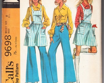 Vintage 1969 McCall's 9698 Sewing Pattern Misses' Coordinates, Blouse, Pants and Jumper Size 8 Bust 31-1/2