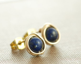 Lapis Lazuli Post Earrings Wrapped in 14k Gold Fill,  Blue Gemstone Earrings, Handmade, aubepine