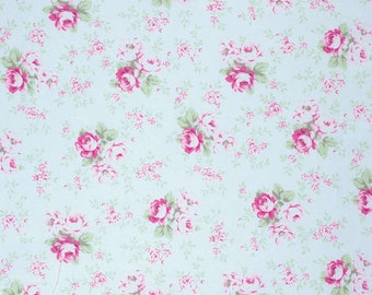 Blue Washed Rose  PWTW091-BLU Cotton Fabric by Tanya Whelan Free Spirit Slipper Roses