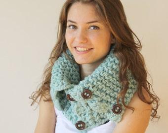 Mint Green HandMade Scarf Shawl Neckwarmer Cowl Mothers Day gift for women girls gift Under50