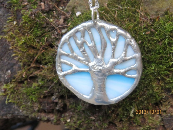 Light blue swirl & silver stained glass,Auburn, tree of life pendant