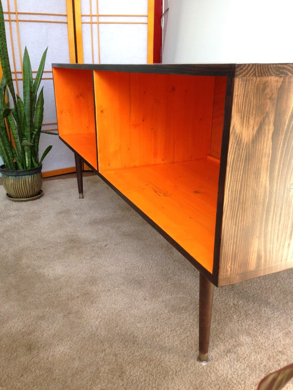 mid century modern record player cabinet media table tv stand cabinet mcm orange and chocolate brown or custom color