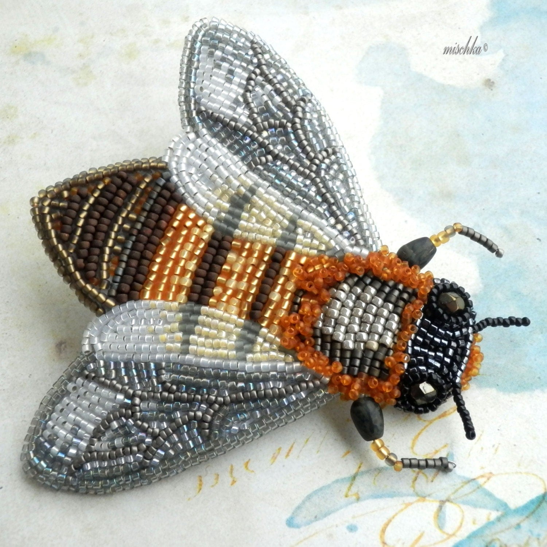 Brooch Beads: Bead Embroidered Brooch Honey Bee