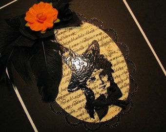 Witch, Handmade Halloween Card, Enchanting, Black Embossed Witch Face