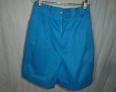 Vinatge 1980s Benetton High Waisted w/back elastic Sky Blue Shorts - Size 4