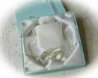 Infinity Bracelet - Endless Love - Rhinestone Pave Bracelet - Infinity Symbol Charm Bracelet - You choose length