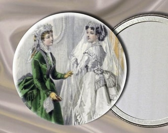 Mother of the Bride Compact Mirror - Double Mirror - Southern Wedding - Godeys Fashion - MOB Gift - Wedding Thank You