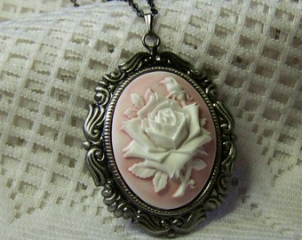 White Rose Cameo Necklace - Victorian Rose - Pink and White Rose pendant - Soft Pink - Antique Silver - Shabby Chic - Cottage Rose