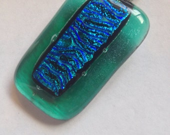 Iridescent Green and Dichroic Teal Fused Glass Pendant