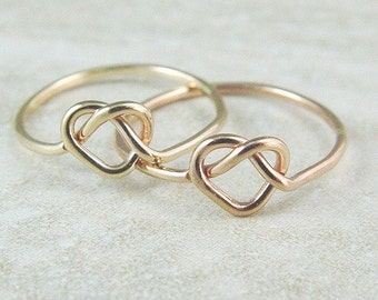 Solid 14K Gold Heart Ring / Promise Ring / Love Knot / Infinity Ring / Yellow or Rose Gold