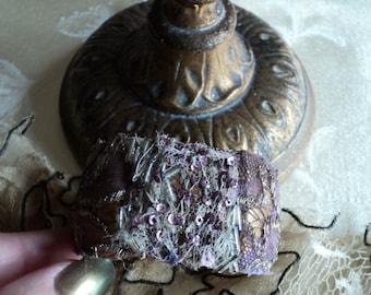 Original OOAK Handmade Antique Cuff Embroidered 1920s Metallic Lace Lavendar Sequins