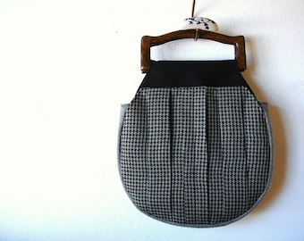 Wooden Handle Handbag Gray Herringbone and Houndstooth READY TO SHIP