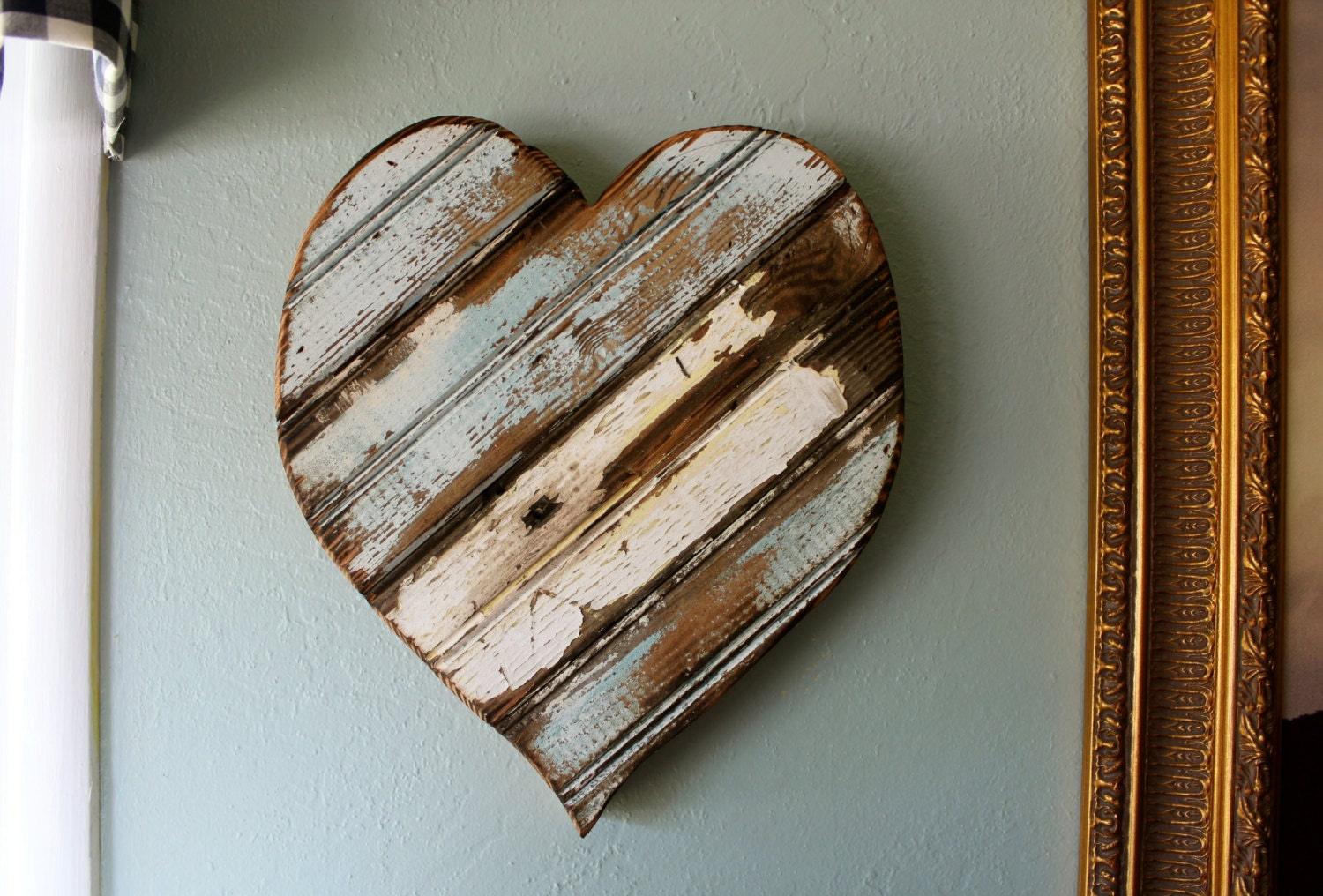 Hanging Heart Wall Decor : Wooden heart wall hanging art french country