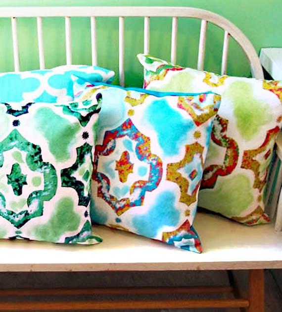 Moroccan Throw Pillow, Aqua and Teal Ikat Marakech Pattern, Original Painting Art Pillow , 16 Pillow cover with insert