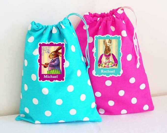 Personalized Easter Goody Bag, Children's Drawstring Bags, Party Favors, Large Drawstring Goodie Bag, 48 Styles to choose from