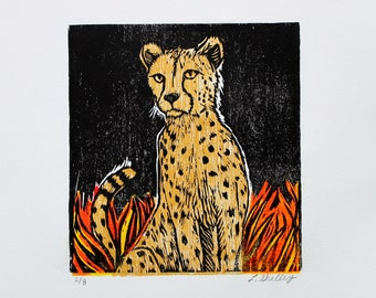 Cheetah in Fire - Original Woodblock Print by Lora Shelley