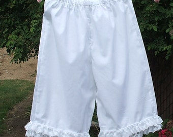 Short Pantalons Womens XSm - XLg Cotton with Lace Bloomers Custom made