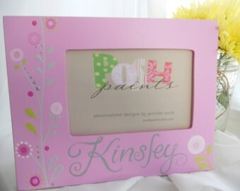 NEW Kinsley pop flowers, hand painted picture frame, displays 4x6 photo, personalize it