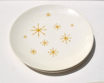 """Vintage atomic dinner plates 1950's Star Glow 10"""" plates by Royal China"""