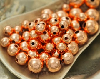 Copper Smooth Round Beads - 3mm, 4mm, 5mm, 6mm or 8mm