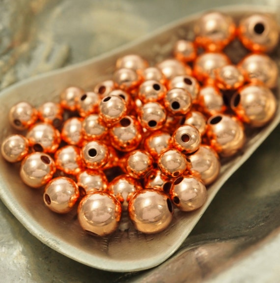 100 Copper Smooth Round Beads - 3mm, 4mm, 5mm, 6mm or 8mm