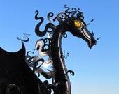 Smokey Dragon Flamingo Handmade yard garden art Halloween sculpture great gift for gardeners