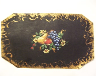 Ann's miniature handpainted floorcloth 5inches by 3 inches   with fruit