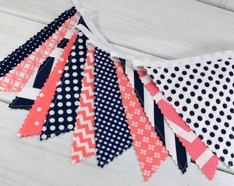 Banner Bunting, Photo Prop, Fabric Flags, Nursery Decor, Baby Shower, Birthday Decoration - Coral Pink, Navy Blue, Dark Blue Chevron Dots
