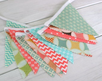 Bunting, Vintage Fabric Banner, Baby Girl Nursery Decor, Flowers, Floral, Coral Pink, Yellow, Mint Green, Salmon Pink, Aqua  - Fly a Kite