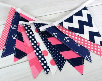 Bunting Banner, Photography Prop, Fabric Flags, Nautical Nursery Decor - Pink and Navy Blue Chevron, Dots and Anchors