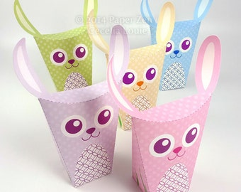 DIY Printable Easter Bunny Rabbit Party Favor Treat Box with Editable / Custom Text in PDF format (5 color themes included)