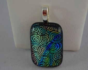 Fused Glass Necklace and Earrings Set, Patterned  Dichroic Glass, SRAJD