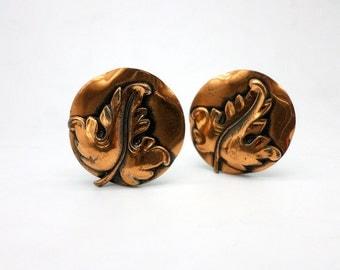SALE Vintage Copper Leaf Clip On Earrings