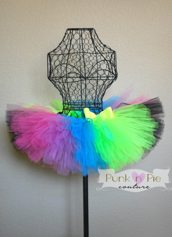 Neon rainbow tutu in fluorescent colors perfect for a glow run or
