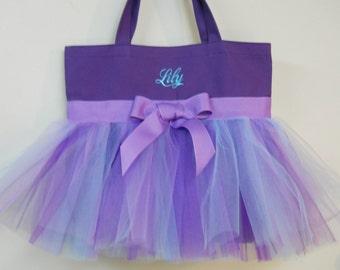 Dance bag, ballet bag, Tutu tote bag, Embroidered Tote Bag with Purple, Aqua and Lavender Tulle and Lavender Ribbon Tutu Tote Bag -TB78 -BP