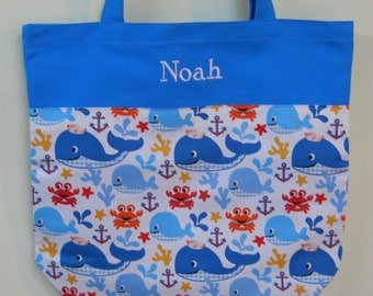 Boys tote bag, dance bag, ballet bag, school bag, backpack,  Boy's embroidered Turquoise Tote Bag with whale fabric (large) LBTB293