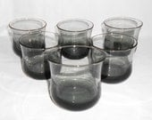 reserved for Annalise 12 Vintage  Hollywood Regency Smoke Gray On The Rocks Tulip Shaped Lowball Drinking Glasses