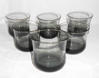 6 Vintage  Hollywood Regency Smoke Gray On The Rocks Tulip Shaped Lowball Drinking Glasses
