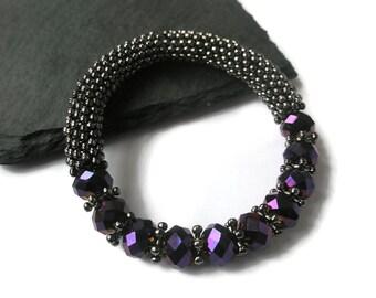 Bracelet Gunmetal Gray snowflake beads Metallic Purple Czech Firepolished beads Bubble stretchy bangle Adjustable