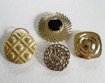 Collection of 4 Vintage Gold Tone Scarf Clips