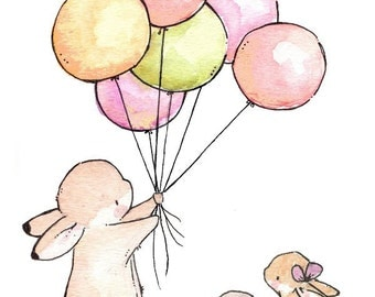 Children Art Print. Balloons for Bunnies VINTAGE. PRINT 8X10. Nursery Art Wall Decor