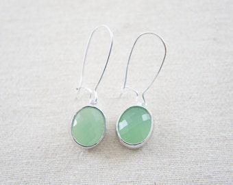 mint green faceted oval glass silver earrings - drop earrings, bridal gift, everyday earrings, kidney ear  wire
