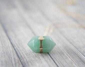Polished green aventurine quartz double terminated necklace, healing gem, everyday necklace, power stone, green gem, layered necklace