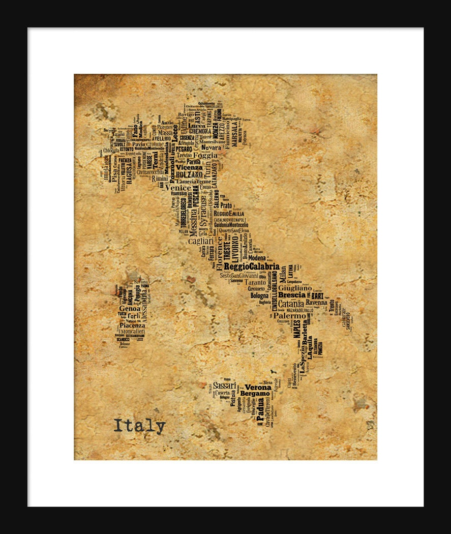 Italy Map Typography Grunge Sepia Map Poster Print Text Map