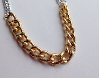 Gold & Silver Chunky Textured Link Necklace