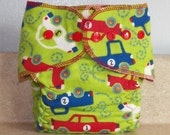 Fitted Small Cloth Diaper- 6 to 12 pounds- Vehicles