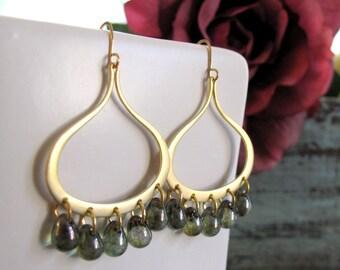 Gold Teardrop Earrings, Chandelier Dangle Earrings, Modern Olive Green Earrings in Gold - AVALON